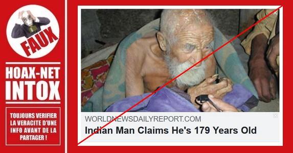 Non, cet homme en Inde n'a pas 179 ans.