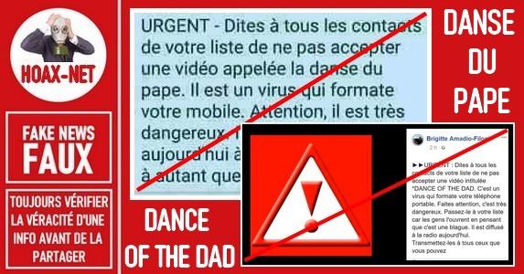 Les vidéos « Danse du Pape » et « Dance of the dad » sont des canulars.