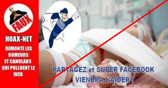 Partagez, Likez, Commentez, et SUPER FACEBOOK aidera tous les enfants malades !