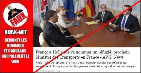 Non, François Hollande va pas nommer un réfugié, prochain ministre des transports !