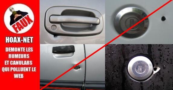 J'ai remarqué un petit trou juste en dessous de la poignée de ma voiture !