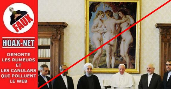 Le Pape François et le président iranien, avec les 3 grâces