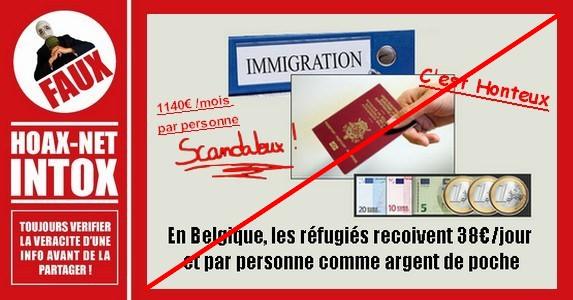 NON, Les refugies et «futurs nouveaux Belges» ne reçoivent pas 38euros / jour et par personne en Belgique.