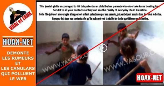 Non, ce n'est pas une fille juive qui frappe un enfant palestinen