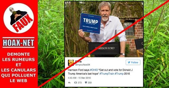 Non, Harrison Ford ne soutient pas Donald Trump !