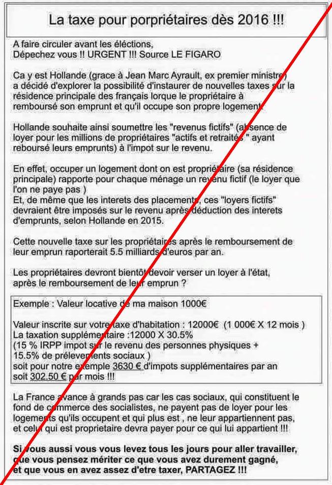 NOUVELLE TAXE SUR LA RESIDENCE PERMANANTE-