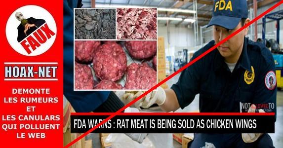 Non, la viande de rat n'est pas vendue comme ailes de poulet dans les restos à travers les USA !