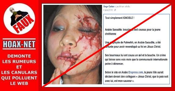 NON, une jeune fille n'a pas eu la bouche et l'œil cousus  pour avoir évoqué Jésus en Arabie Saoudite..