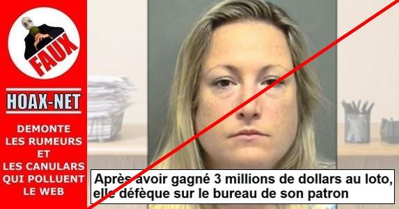 NON, ELLE N'A PAS GAGNÉ 3 MILLIONS DE DOLLARS AU LOTO, ET ENCORE MOINS DÉFÉQUÉ SUR LE BUREAU DE SON PATRON !