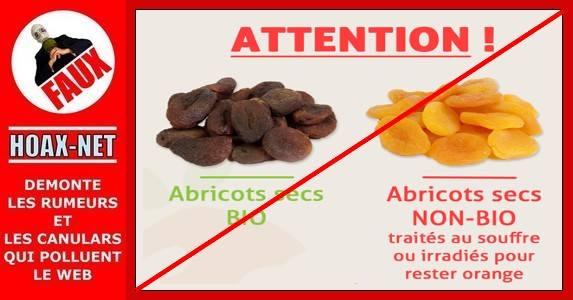 NON, les abricots secs NON BIO ne sont pas dangereux pour la santé