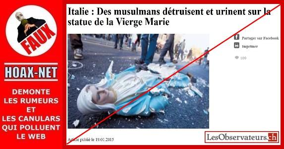 NON ce ne sont pas des musulmans qui détruisent et qui urinent sur la statue de la Vierge Marie