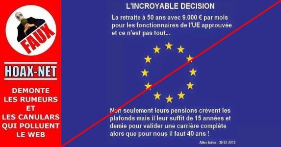 NON, les fonctionnaires européens ne partiront pas à la retraite à 50 ans, pour 9 000 euros mensuels.