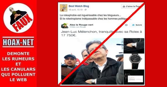 Non, Jean-Luc Mélenchon porte pas une Rolex à 17.750 €