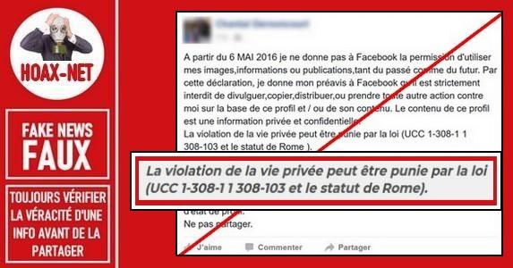 Réaffirmer vos droits d'auteur et vie privée sur votre page Facebook n'a aucune valeur juridique.
