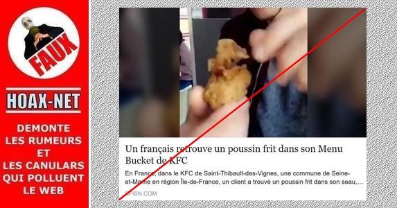 Non, un poussin frit n'a pas été retrouvé dans un «bucket» de KFC