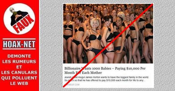 NON, aucun milliardaire n'est prêt à donner 10000 $ /mois à chaque mère pour avoir 1000 bébés !