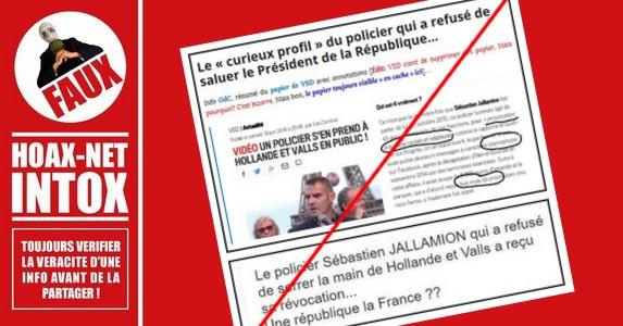 NON, le policier qui a refusé de saluer François Hollande et Manuel Valls n'est pas le policier lyonnais révoqué !