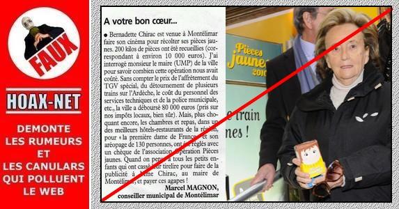 NON, l'opération pièce jaune n'est pas une opération de marketing destinée à faire la promotion de Madame Chirac
