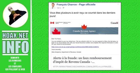 Alerte à la fraude: un faux remboursement d'impôt de Revenu Canada