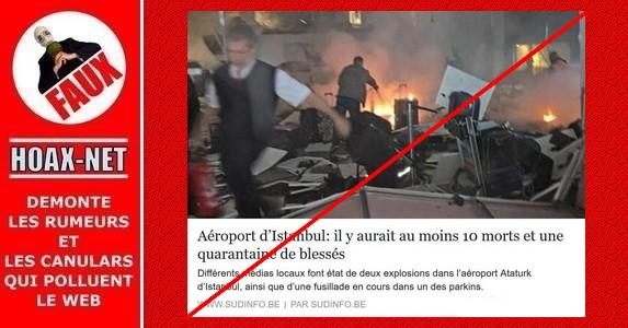 Cette photo de certains médias dont Sud Info, ne montre pas l'attentat de l'aéroport d'Istanbul