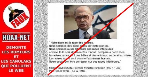 FAUSSE citation de Menahem BEGIN.