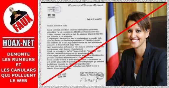 La fausse circulaire  avec la signature de  Najat Vallaud-Belkacem