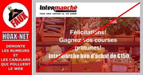 Le bon cadeau de 150€ offert par «Intermarché» par courriel est une ARNAQUE !