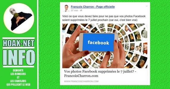 Vos photos Facebook supprimées le 7 juillet?