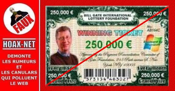 Non, vous ne gagnerez jamais 250.000$ à une loterie de la Fondation Bill Gates !