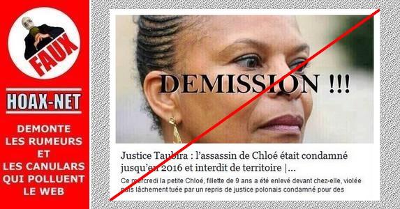 NON, Mme TAUBIRA n'est pas responsable de la mort de la petite Chloé