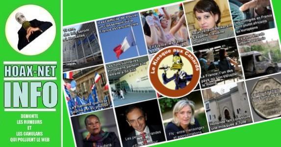 Excellent article a lire du «KIOSQUE AUX CANARDS» sur quelques hoaxs propagés par le FN.