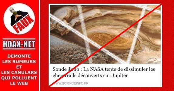 Non, la sonde Juno n'a pas découvert des chemtrails sur Jupiter