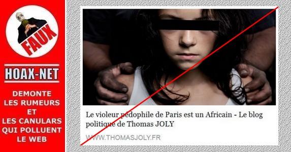 Le violeur pédophile de Paris n'était pas Africain!
