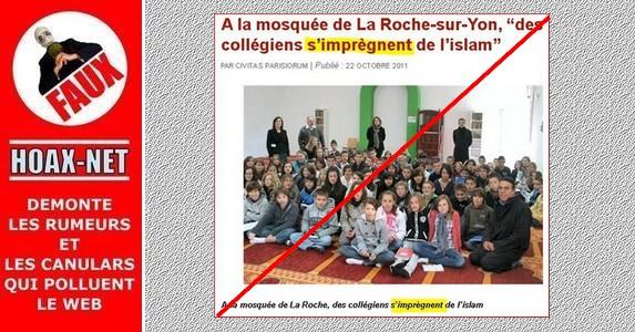 Non, les enfants du collège «Saint-Pierre aux Essarts» de La Roche-sur-YON ne sont pas endoctrinés à la mosquée