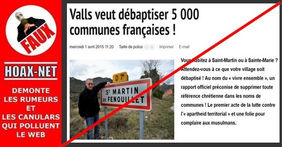 Non, les communes dont le nom comporte un «saint» ne seront pas débaptisées !
