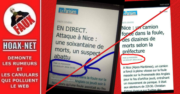 NON, Le Parisien n'a pas publié un article sur l'attentat de Nice plusieurs heures avant.