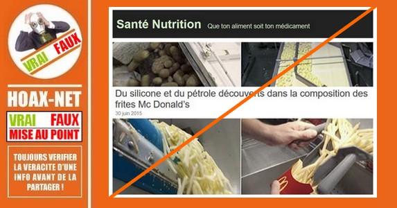 Alerte inutile sur les additifs des frites MacDonald's