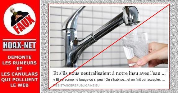 Non, l'eau du robinet n'est pas utilisée pour nous transformer en zombies manipulables !