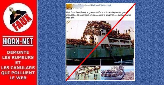 Non, ce n'est pas l'immigration des européens vers le Maroc et la Tunisie pendant la première guerre mondiale.