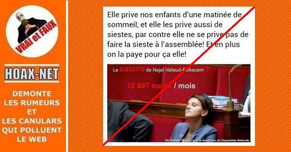 Non, la ministre Najat Vallaud-Belkacem n'est pas payée 12 697€ pour faire la sieste !