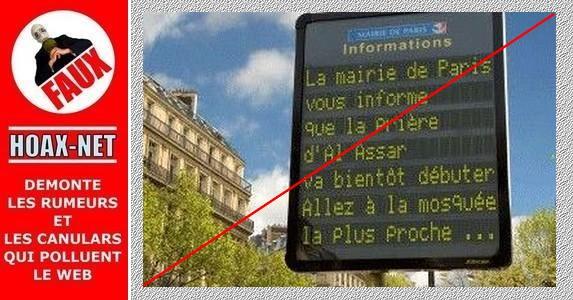 N'en déplaise au f'haine, ce panneau n'a pas été programmé par la mairie de Paris !