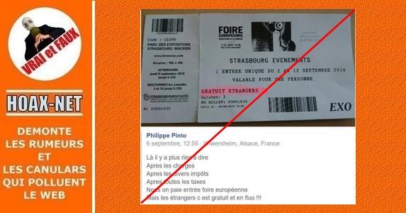 Foire européenne gratuite pour les étrangers? Mais pas qu'eux…