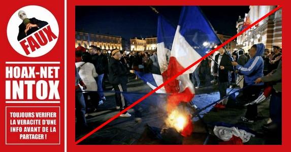Non, ce ne sont pas des supporters de foot algériens qui brûlent les drapeaux français.