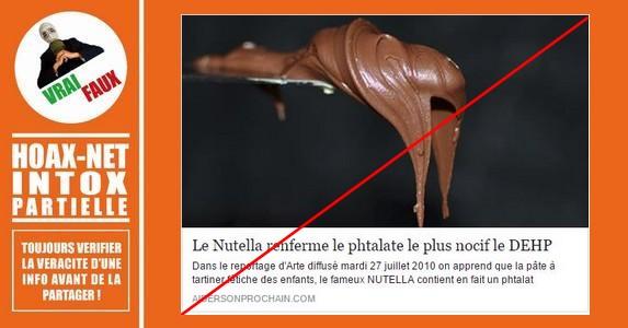 Le Nutella ne contient plus de phtalates, et il n'y en a jamais eu dans son emballage.