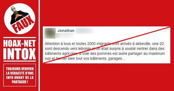 Non, il n'y a jamais eu 2000 migrants qui sont allés à Abbeville !