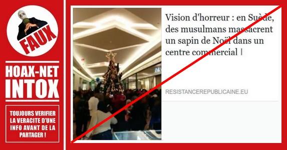 Non, la «destruction» de ce sapin de Noël n'a pas eu lieu en Suède !