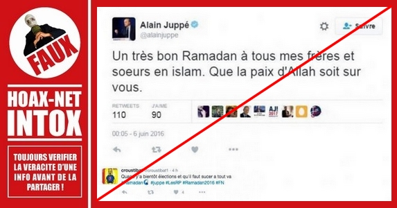 NON, Alain Juppé n'a pas souhaité un bon Ramadan sur Twitter