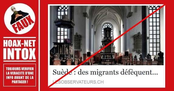 Non, des migrants n'ont pas déféqué et ne se sont pas masturbés dans une église.