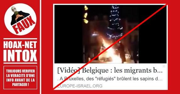 Non, un sapin de Noël n'a pas été brûlé par des migrants à Bruxelles.
