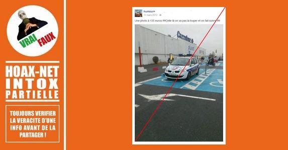 Les policiers ont le droit de se garer sur une place pour handicapés s'ils sont en intervention.